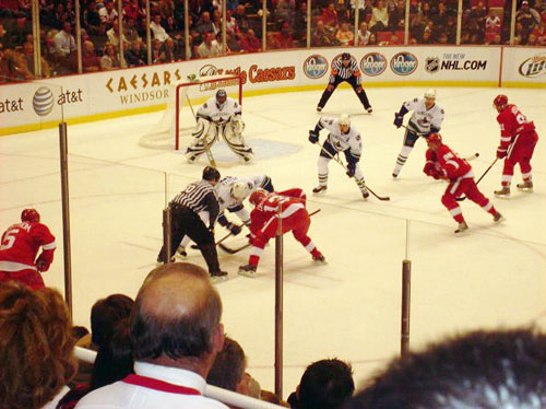 That one time, at the Wings game, where I chatted up a random guy who then gave me his two tickets to the game -- in the 10th row.